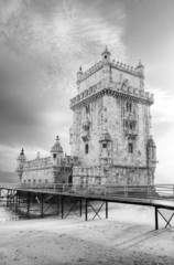 Tower of Belem in black and white. Lisbon, Portugal
