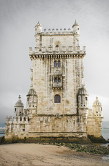 Tower of Belem on a cloudy day. Lisbon, Portugal