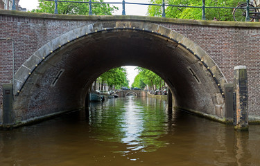 Amsterdam - Romantic bridge over canal in old town
