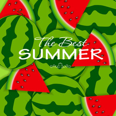 Abstract Natural Summer Background with Watermelon. Vector Illus
