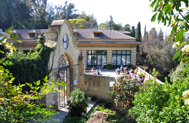 Cafe in the park in Barcelona