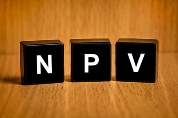 NPV or net present value word on black block