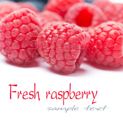 fresh raspberries close-up, selective focus