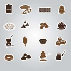 chocolate stickers set eps10