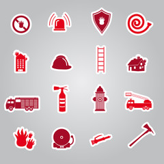 fire brigade stickers set eps10