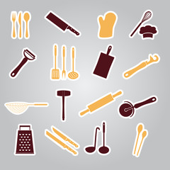 home kitchen cooking utensils stickers eps10