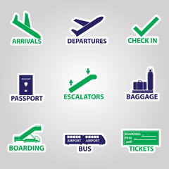 airport signs stickers eps10