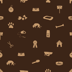 dog icons seamless brown pattern eps10
