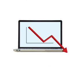 laptop with the downward graph