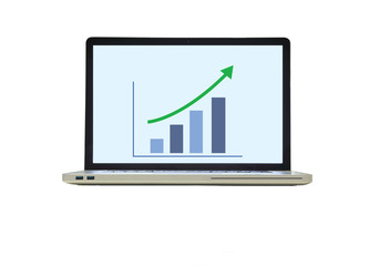 laptop with the growth graph