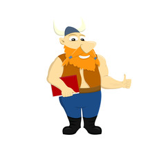 Cartoon illustration of a viking holding a book