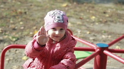 Child hand waving