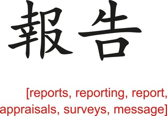 Chinese Sign for  reports, reporting,appraisals,surveys,message
