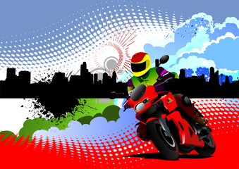 Grunge colored silhouette cityscape with bike image. Vector illu