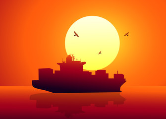 Ship & Sunset-Vector