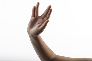 Young hands make Vulcan Salute