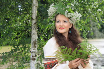 Woman in traditional Russian (slavic) costume