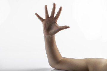 Young hand make 5 fingers gesture