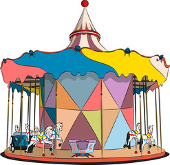 vector carousel with horses and machines