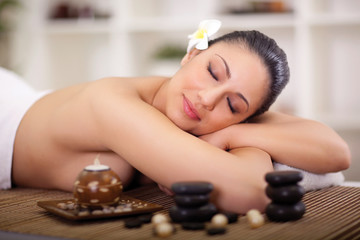 beautiful woman having beauty treatments in the spa salon