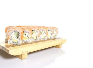 sushi roll with shadow isolated on white background