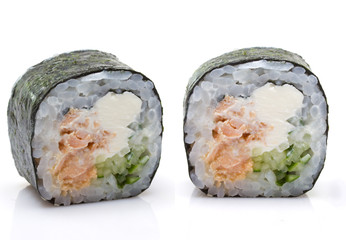 Two peaces sushi roll with shadow isolated on white background