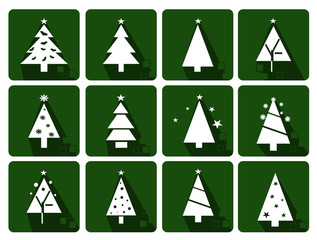Icons set with christmas tree and stars - green