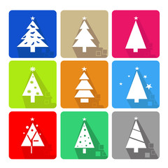 Icons set with christmas tree and stars - color
