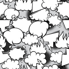 Seamless pattern of comic speech bubbles in cartoon style.