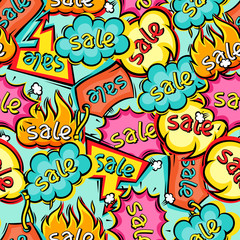 Seamless pattern of sale speech bubbles and labels.