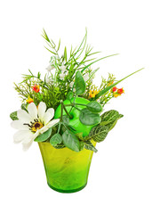 Bouquet from artificial flowers and fruits isolated on white bac