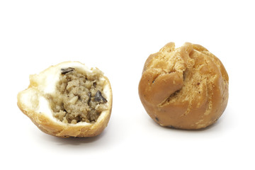 Fried mushroom bun isolated on the white background