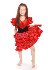 girl in a bright red dress.
