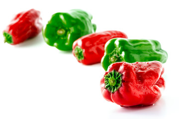 green pepper, pimiento, pimento on white background