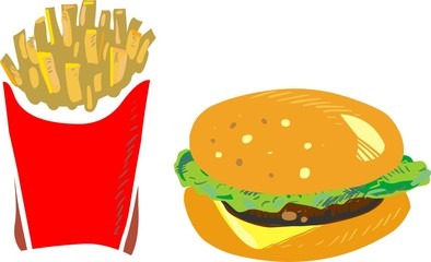 Hamburger with fries, vector illustration