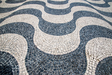 "Typical Portuguese ""calcada"" mosaic cobble stone paving, Lisbon,"
