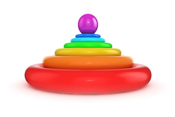 abstract layered colorful torus with ball on top