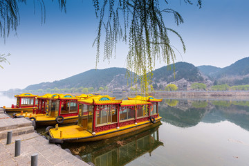 Traditional china boat on a lake, luoyang, China
