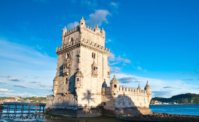 Belem tower on Tagus river, Belem, Lisbon, Portugal. UNESCO Worl