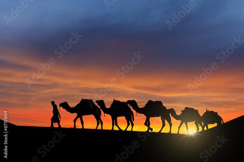 Fotobehang Marokko Desert caravan