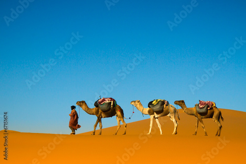 Tuinposter Marokko Desert caravan