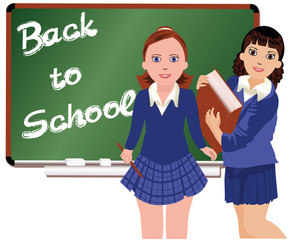 Back to School  Two schoolgirl.  vector illustration