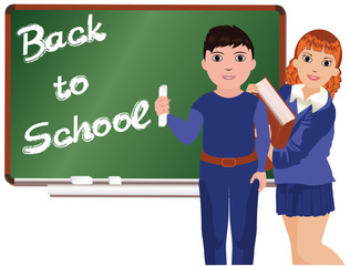 Back to School . Little boy and girl vector