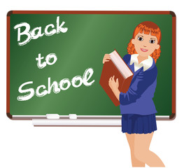 Back to School. Little schoolgirl with book. vector illustration