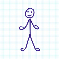 Funny sketch drawing of happy man