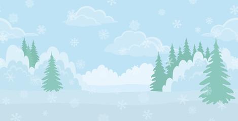 Christmas landscape, winter forest