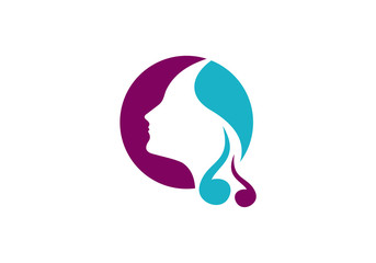 beauty hair woman salon vector logo