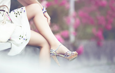 romantic summer look. Shoes and dress summer girl