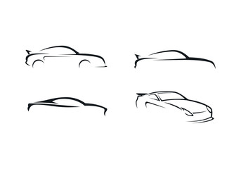 car silhouette drawing vector logo
