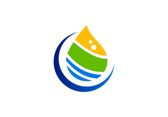 water drop ecology abstract color logo